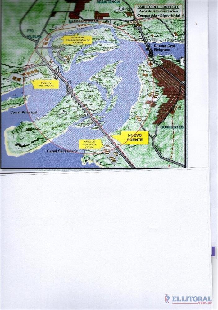 UBICACION. Zona en la que se ubicaría el segundo puente que unirá Corrientes y Chaco.