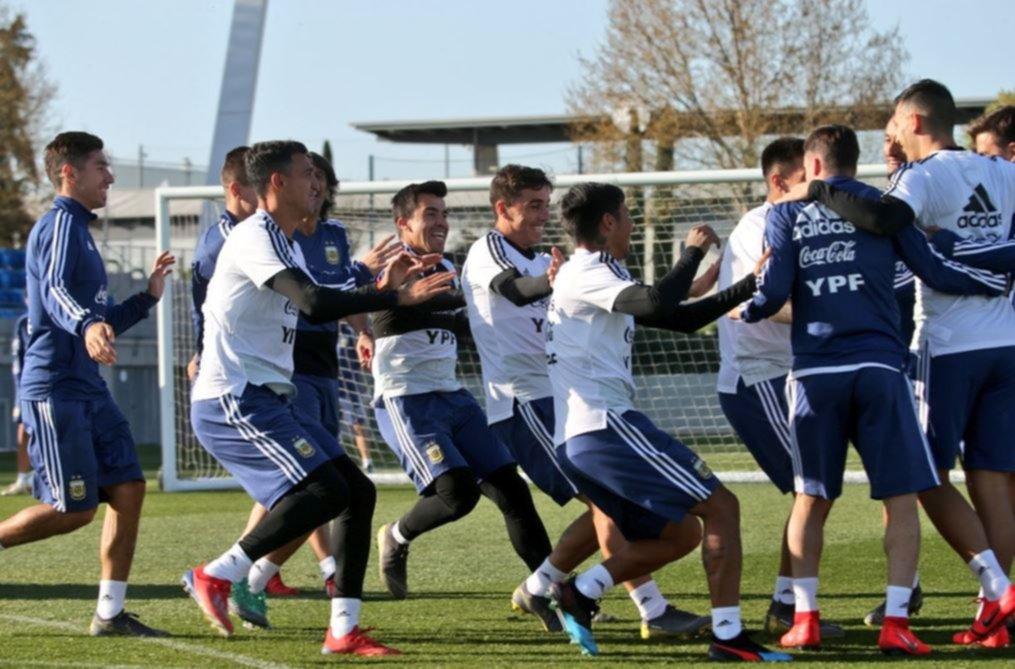 <p>Disfrutando. La Selecci&oacute;n cumpli&oacute; su &uacute;ltimo entrenamiento en Madrid.</p>