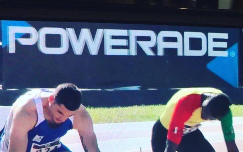Largada. Momento en que Robledo se aprestaba para disputar una de las  series semifinales de los 100 metros. GENTILEZA f9a3a86a13157