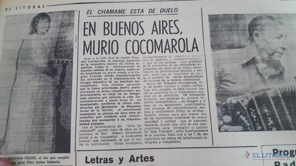 <p>La publicación de El Litoral del 20 de septiembre de 1974 sobre el fallecimiento de Mario del Tránsito Cocomarola</p>